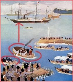 沖に停泊する本船に向う